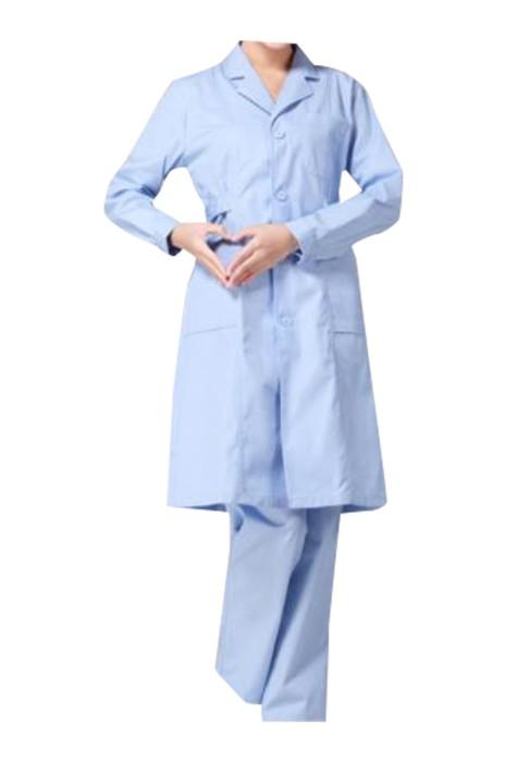 SKU019 訂製長袖醫生袍 設計翻領實驗室 藥店工作服  醫生袍生產商