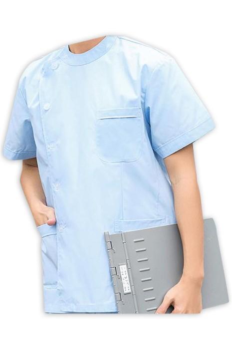 SKU021 訂製男護士服套裝  設計小立領 腰側兩邊彈力鬆緊  長袖套裝護士服 短袖套裝護士服 護士服製衣廠 35%棉 65%polyester