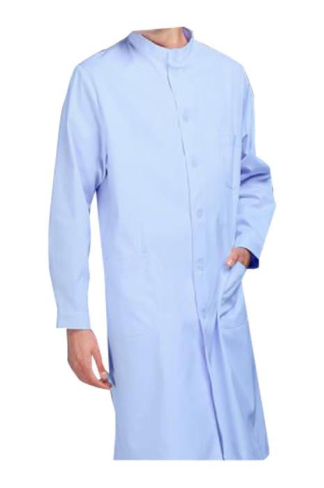 SKU022  製造過膝長短袖男護士服 美容院 養生館 手術室 診所 訂製便攜口袋護士服 護士服供應商 65%polyester  35%棉