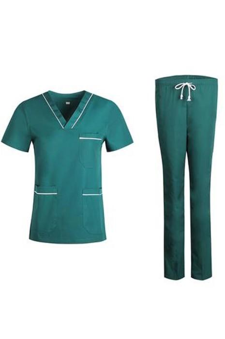 SKU026  大量訂購短袖套裝手術袍  設計診所 美容院  寵物醫院醫生袍  V領領口 抽繩腰頭  護士袍專門店
