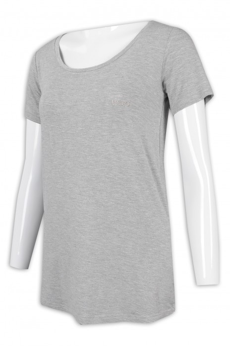 T945 訂製女裝大領T恤 中長款 花灰 T恤生產商