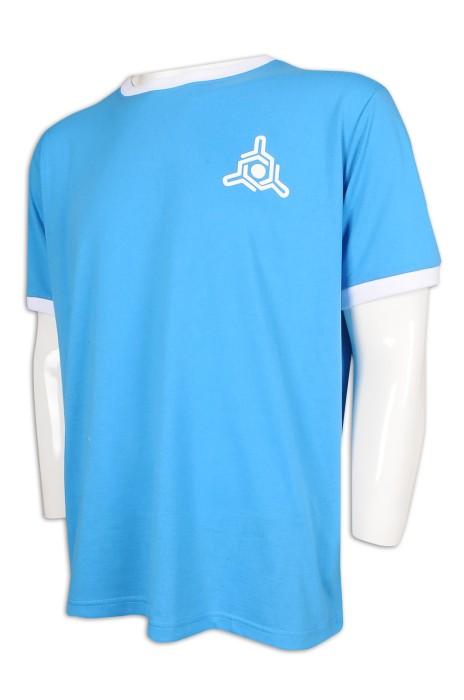 T967 訂做印花logoT恤 撞色袖口 社區服務T恤 T恤供應商