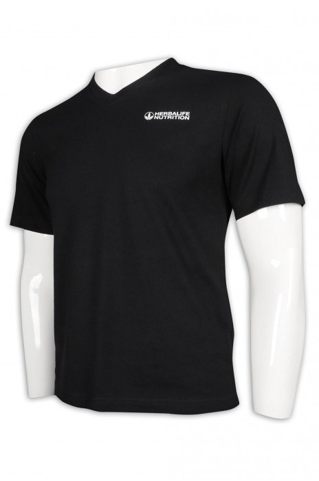 T968 設計男裝黑色T恤 修身 V領T恤  T恤製造商