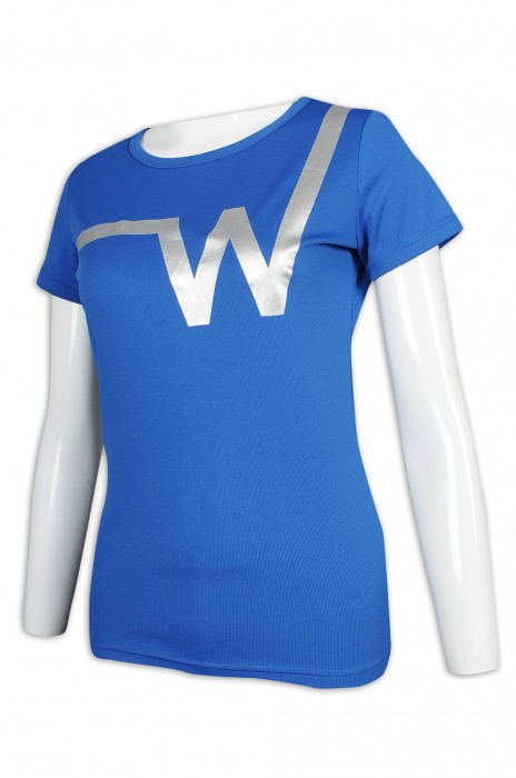 T976 訂製女裝修身T恤 燙銀 健身T恤生產商