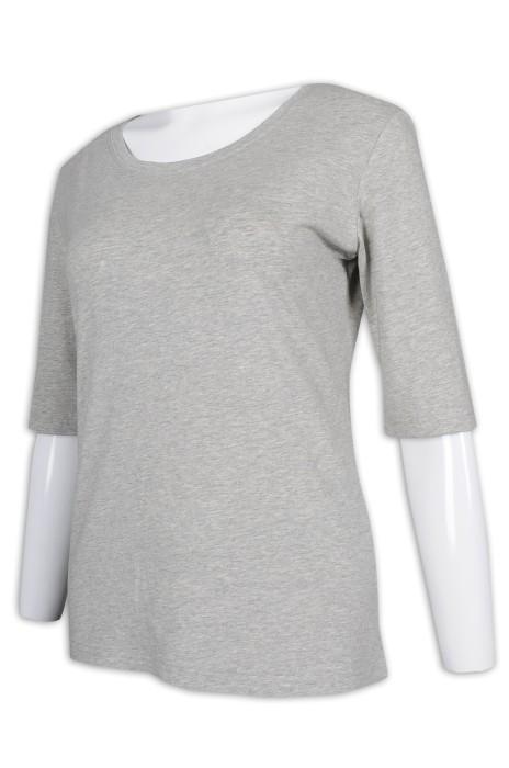 T979 製作女裝花灰色T恤 五分袖 T恤專門店