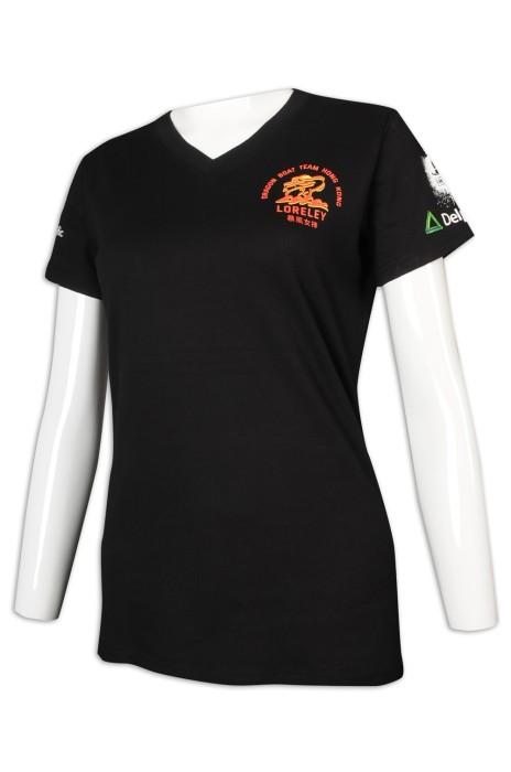 T987 設計女裝短袖T恤 V領  龍舟隊衫 T恤製造商    黑色