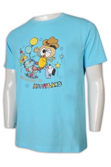 T988 制訂寬鬆T恤 湖水藍 卡通印花 T恤供應商     粉藍色