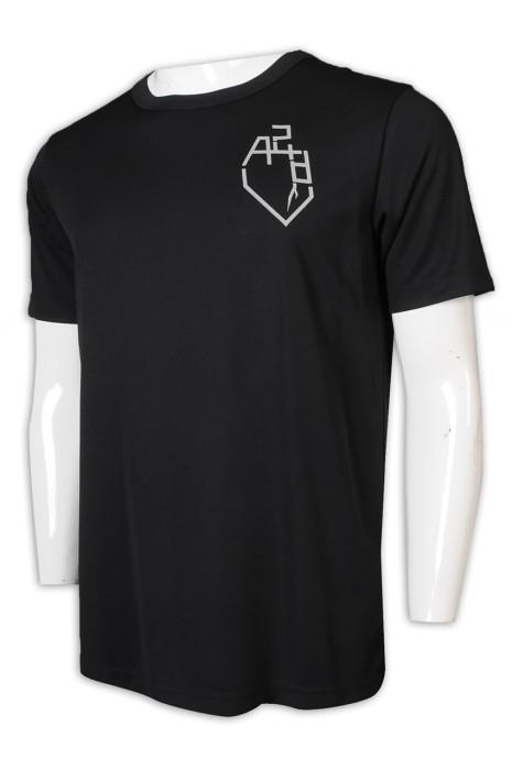 T1002 網上下單T恤 黑色男裝短袖 反光Logo T恤製造商     黑色