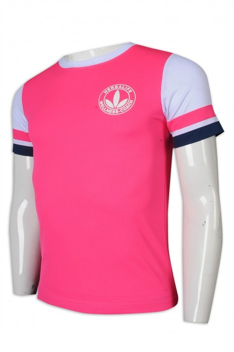 T1004 制訂T恤 袖口撞色 領口撞色 Logo 健康食品 健康 顧問 T恤專門店     粉紅色  合身 t 顯 瘦 t shirt