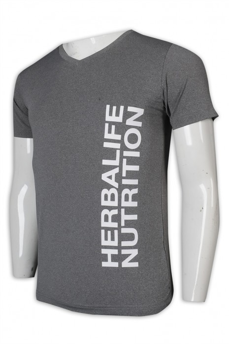 T1005 訂做T恤 V領 灰色 短袖 男裝 日本 康寶萊 T恤生產商       灰色