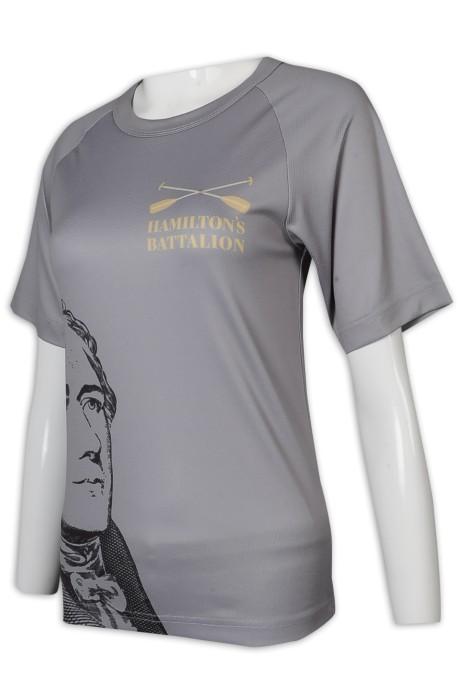 T1008 訂製T恤 100%滌 女裝短袖 印花 拼色 金融行業 投資銀行 T恤專門店    灰色  客 製 t 恤