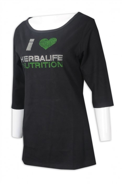 T1017 網上訂購女裝中袖T恤 設計黑色大圓領燙鑽T恤  T恤專門店 馬來西亞 HERBALIFE
