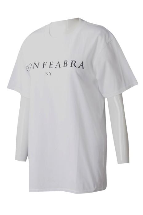 T1020 大量訂製女裝白色T恤 自訂短袖圓領印花T恤 T恤生產商 100%棉 美國 時裝 品牌 OEM