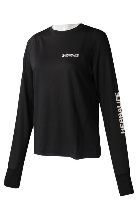 T1024 製造女裝長袖T恤 個人設計黑色圓領印花LOGOT恤 T恤製衣廠  HK 營養食品 行業