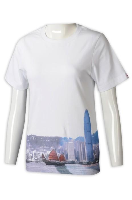 T1029 訂製女裝短袖T恤  設計圓領印花LogoT恤  T恤專門店 白色 HK 旅遊 旅客 紀念品