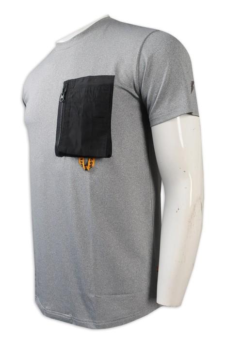 T1034   設計男士圓領T恤    胸前設計拉鏈袋     淨灰色    繡花logo   好看 t 恤   T恤製衣廠
