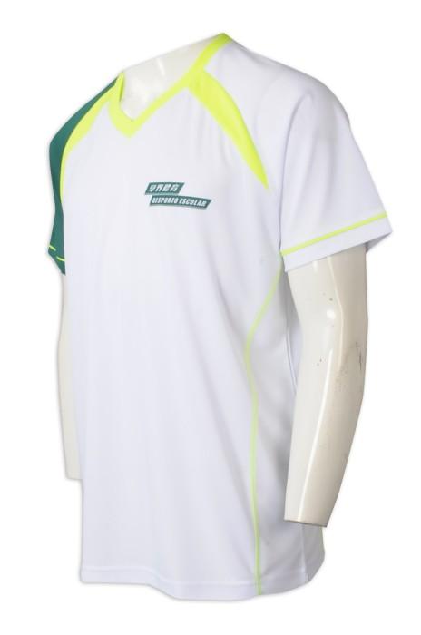 T1036  設計圓領撞色袖T恤   來樣訂製印花LOGO  撞色一邊袖綠色  螢光黃領口   澳門  75D珠地布  學界體育
