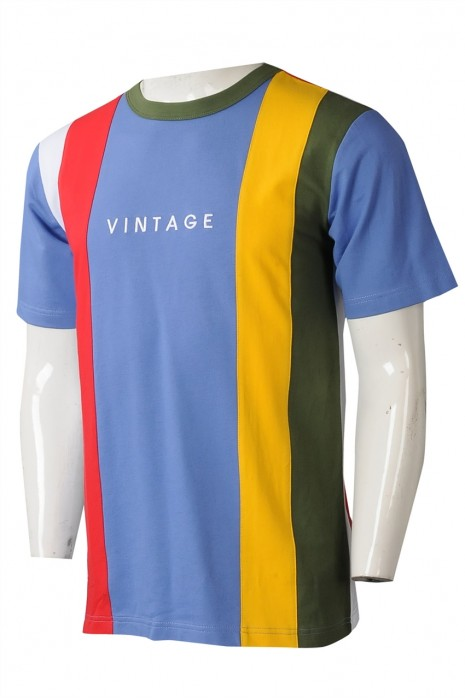 T1039  製造撞色圓領T恤    設計撞色間條繡字班衫T恤   圓領Tee供應商  vintage 70年代 80年代  美國