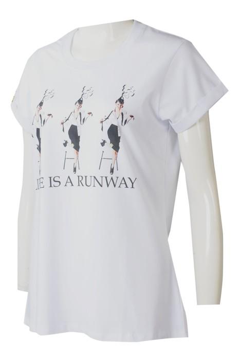 T1041  大量訂製白色女裝短袖T恤  供應直噴LOGO折疊袖LOGO章T恤  T恤專門店  澳洲 cap sleeve