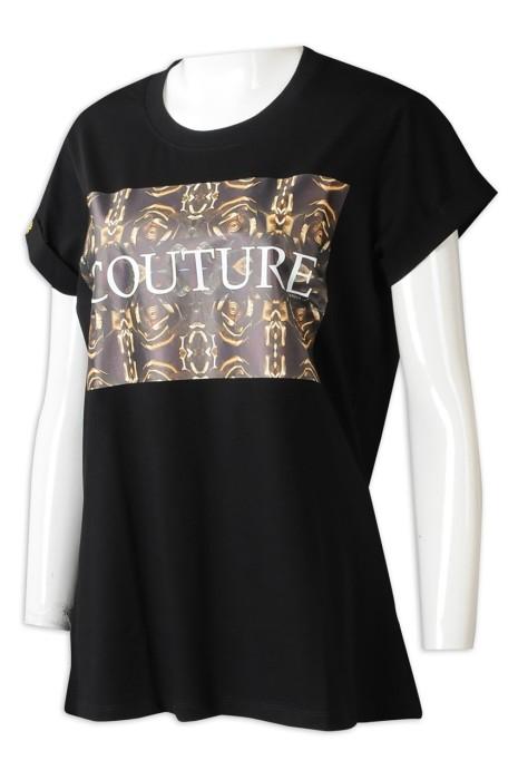 T1042 製造黑色女裝短袖T恤  個人設計直噴LOGO捲袖LOGO章T恤  T恤中心  澳洲   cap sleeve
