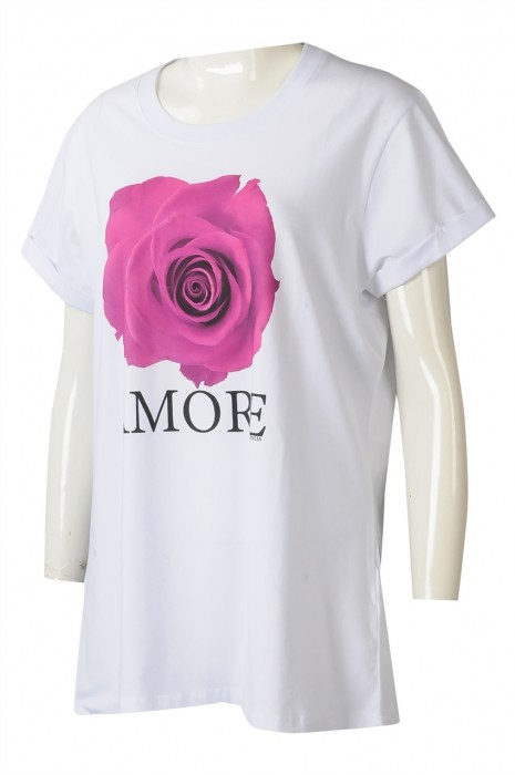 T1043  製造白色女裝短袖T恤  時尚設計直噴LOGO捲袖LOGO章T恤  T恤中心  澳大利亞  團體
