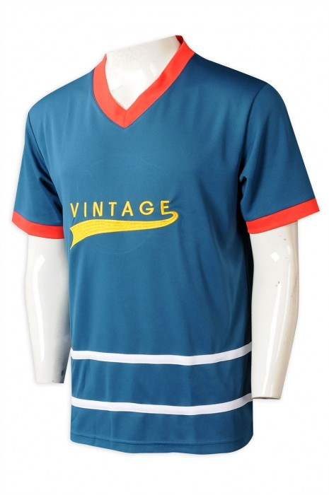 T1047 製造男裝撞色V領T恤  設計刺繡LOGO訓練隊衫  T恤供應商 美國