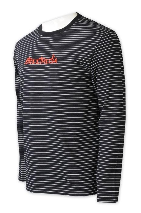T1049   設計黑白間條圓領T恤     訂做黑色撞色圓領     繡花logo   圓領tee工作室   T恤工廠