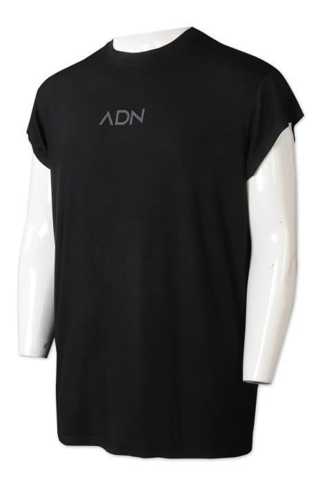 T1055   設計純黑色T恤     訂做印花logoT恤   T恤供應商   T恤製造商   廣告公司    cap sleeve 設計
