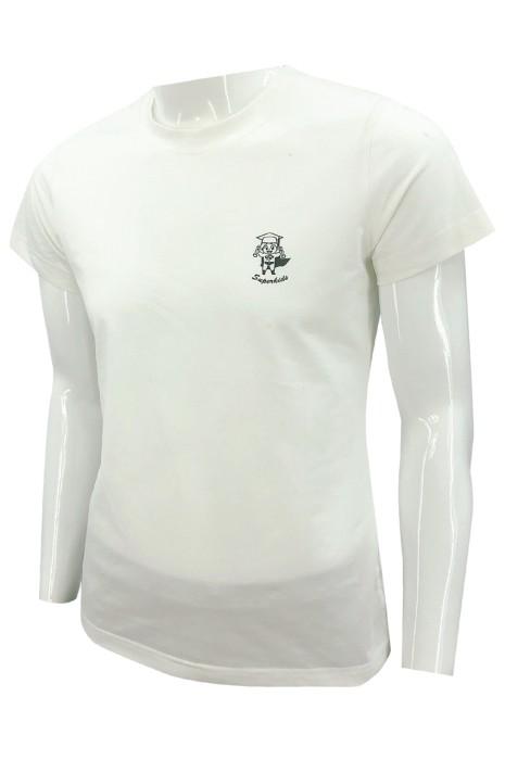 T1058   訂做短袖純白色T恤   設計印花黑色logo   T恤製衣廠   時尚款    女裝 幼兒教育 中心 職員制服