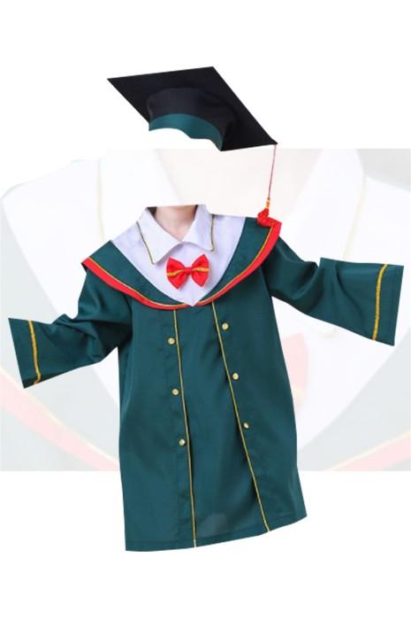 SKDA026 製造綠色長袖畢業袍  設計金花邊袖口畢業袍 畢業袍專門店 兒童畢業袍 小學畢業袍 中學畢業袍