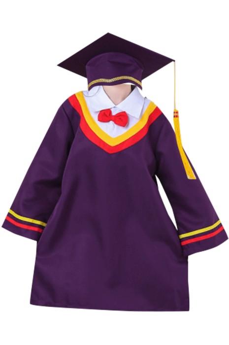 SKDA027 訂做紫色長袖畢業袍 設計後背魔術貼畢業袍  畢業袍中心 兒童畢業袍 小學畢業袍 中學畢業袍