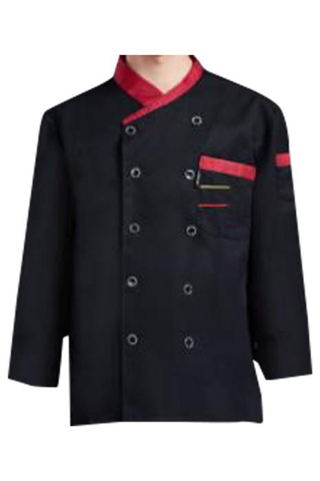 SKKI043 大量訂製長袖廚師制服 設計立領 胸前口袋 雙排釦廚師制服 西餐廳 酒店 廚師制服供應商