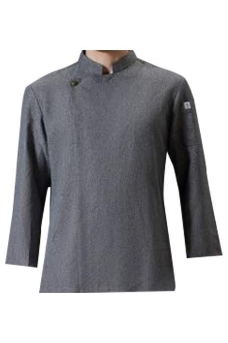 SKKI050  製造西餐廳廚師服  時尚設計立領灰色 烘培師 鐵板燒廚師制服 廚師制服供應商