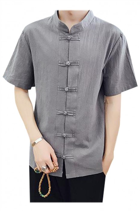 SKKI060 製造短袖透氣薄款亞麻布廚師制服  自訂中式餐廳立領盤扣鈕廚師制服 廚師制服專門店