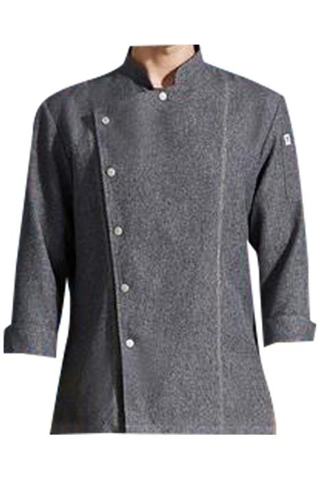 SKKI061 訂製長袖灰色亞麻廚師制服  時尚設計小立領啪鈕廚師制服  中式餐廳  烘培