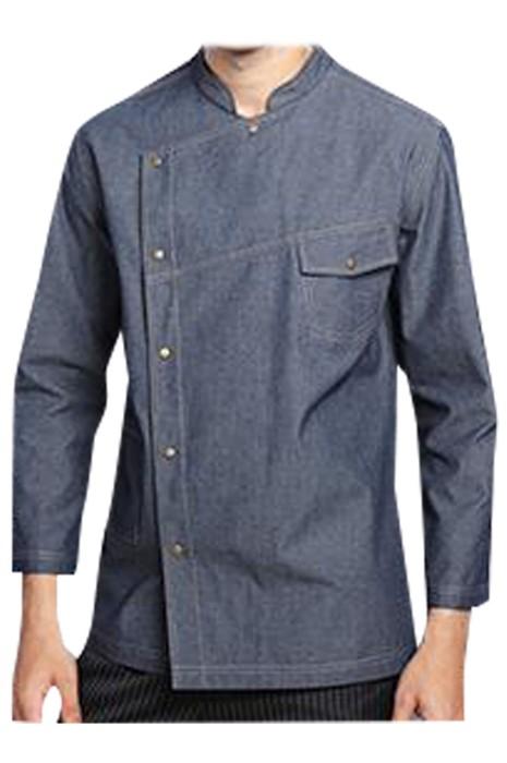 SKKI063 製造牛仔西餐廳廚師制服  設計袖子調節長短  啪鈕廚師制服  廚師制服中心