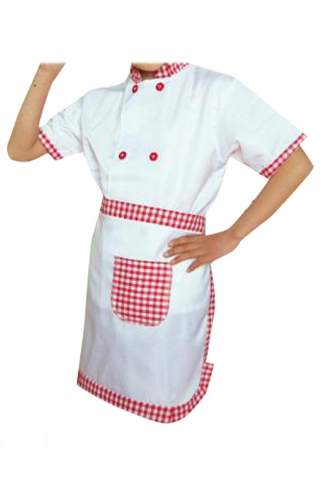 SKKI064  個人設計童裝廚師制服  訂製雙排釦廚師服 格子圍裙  廚師制服供應商  幼兒園廚師制服