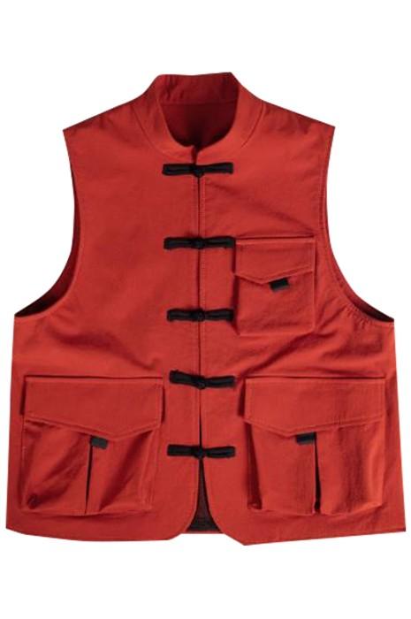 SKKI065  訂做潮流火鍋店餐飲服   時尚設計排扣馬甲中式餐廳餐飲服  餐飲服供應商