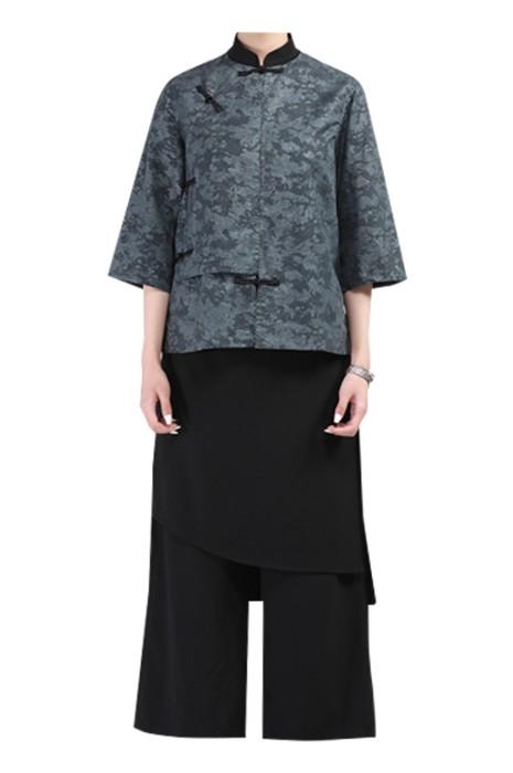 SKKI068  訂購中式餐廳餐廳制服   設計高端提花花盆釦主題餐廳服務生制服  餐飲制服專門店