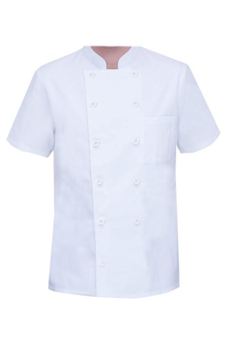 網上下單訂購透氣網廚師服   設計超薄雙排扣立領冰絲廚師工作服  廚師服生產商  SKKI069