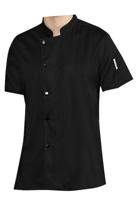 訂造全透氣網廚師服   設計立領超薄短袖單排扣廚師服  廚師服供應商  SKKI070