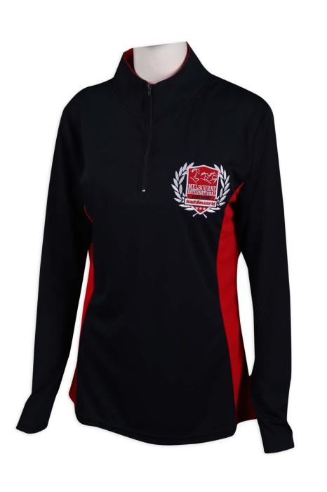 P1059 製作半胸拉鏈Polo恤  長袖 修腰 100滌 澳洲TFS Polo恤生產商