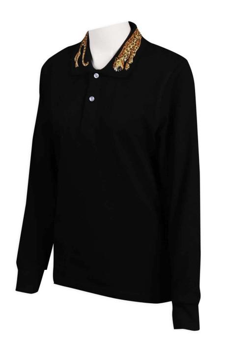 P1061 訂購黑色Polo恤 領位印花 Polo恤供應商