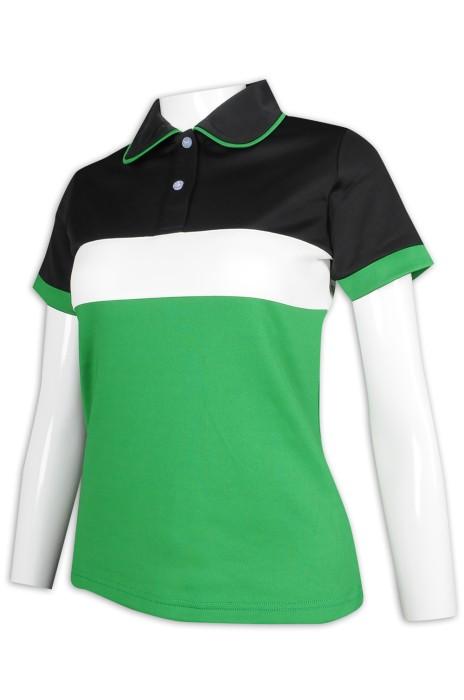 P1160 訂做女裝修身Polo恤 3色拼色 公主領 撞色袖設計 Polo恤供應商