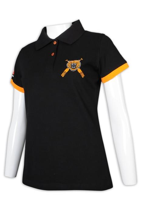 P1180 設計女裝修腰Polo恤 撞色袖口 香港龍舟隊 Polo恤製造商