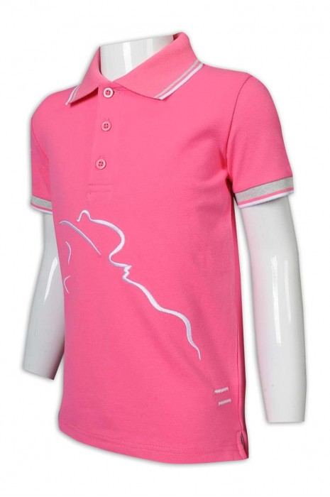 P1204 網上下單Polo恤 撞色袖 撞色領 衫底開叉 馬術 障礙跨欄 表演比賽 Polo恤生產商      粉色