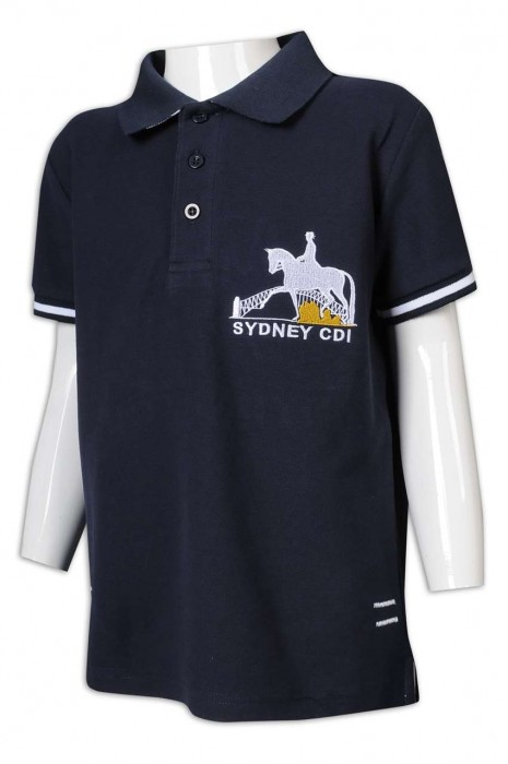 P1205 訂造Polo恤 中長款Polo恤 衫底開叉 繡花 馬術 學校 兒童 青少年 Polo恤製造商      黑色