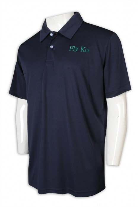 P1208 制訂Polo恤 黑色淨色翻領Polo恤 logo 100%滌 Polo恤專門店      寶藍色