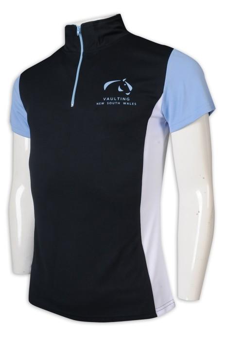 P1212 度身訂做Polo恤 100%滌 高領 拉錬 馬術 拼色 Polo恤專門店     黑色撞色白色