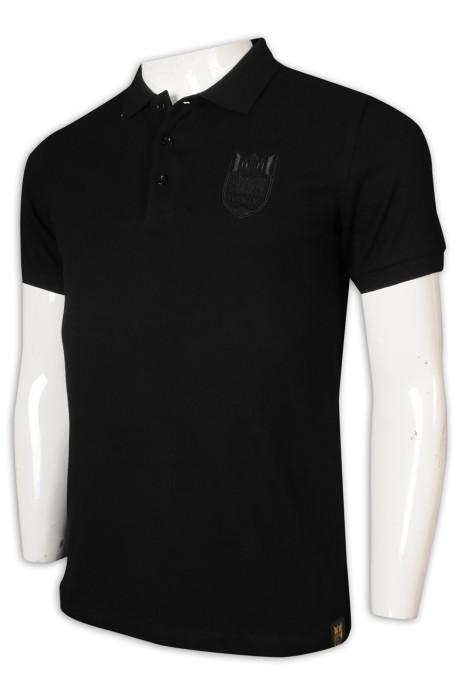 P1213 制訂Polo恤 黑色 3粒鈕 翻領 衫底繡章 日本 Polo恤製造商     黑色